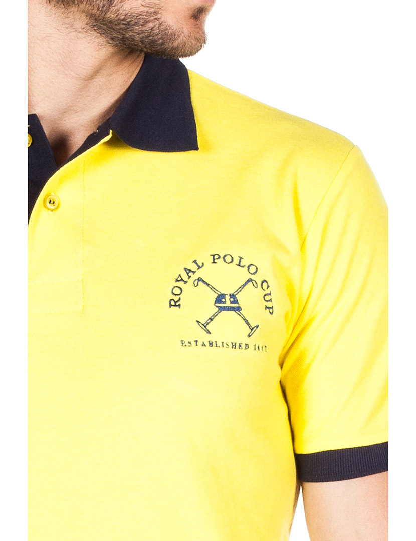 Camisa social amarela masculina de microfibra manga longa