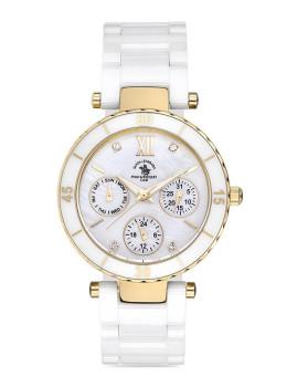 Relógio Santa Barbara Polo & Racquet Club Senhora Branca e Dourado