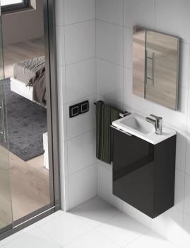Móvel Kompact com Lavatório e Espelho  Cinza  Lacado
