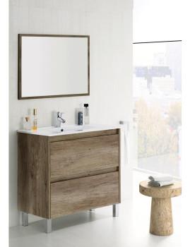 Móvel Daiko com Lavatório e Espelho  Nordico e Branco