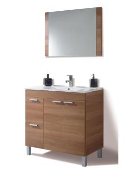 Móvel Activa com Lavatório e Espelho Nogal e Branco