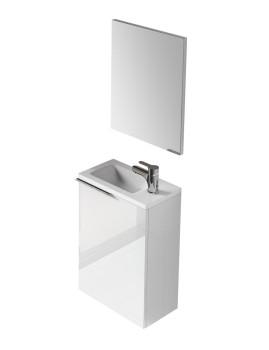 Móvel Kompact com Lavatório e Espelho Branco Lacado