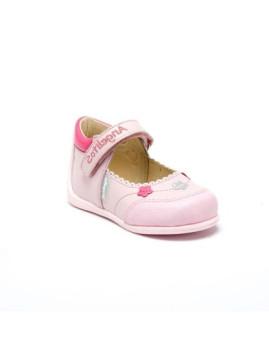 Sapatos de Criança reforço em borracha com Velcro Rosa Lets Grow