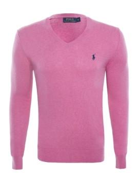 Camisola de Malha Com Decote em V Ralph Lauren Rosa