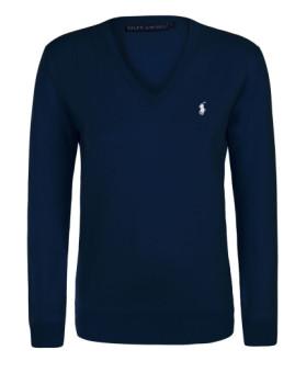 Camisola de Malha Com Decote em V Ralph Lauren Azul Navy