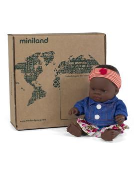 imagem de Conj. Boneca Bebé Africana 21 cm + Fato Meia Estação Flor 2