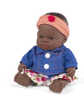 imagem de Conj. Boneca Bebé Africana 21 cm + Fato Meia Estação Flor 1