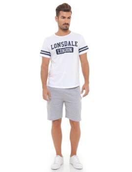 Conjunto T-shirt e Calções Lonsdale Branco e Cinza Mesclado