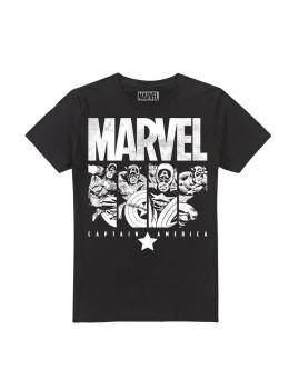 T-shirt Marvel  Cap Panels Preta