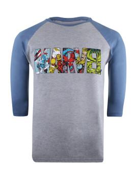 Long Sleeve Marvel  Comic Strip Logo Cinza e Azul