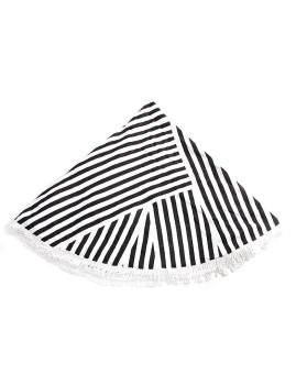 Toalha Circular Riscas Preta e Branca