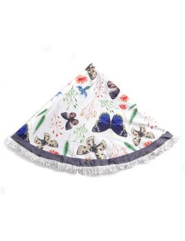 Toalha Circular Borboletas Azul e Branca
