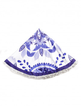 Toalha Circular Flores Branca e Azul