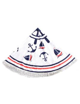 Toalha Circular Padrão Náutico Branca, Azul Navy e Vermelha