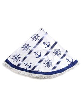 Toalha Circular Padrão Náutico Branca e Azul