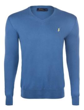 imagem de Pullover Decote em V Azul Escuro e Amarelo Homem1