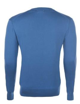 imagem de Pullover Decote em V Azul Escuro e Amarelo Homem2