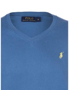 imagem de Pullover Decote em V Azul Escuro e Amarelo Homem3