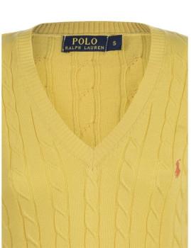 imagem de Pullover Com decote V De Senhora Amarelo4