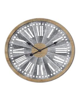 Relógio Parede Madeira e Metal Cinzento