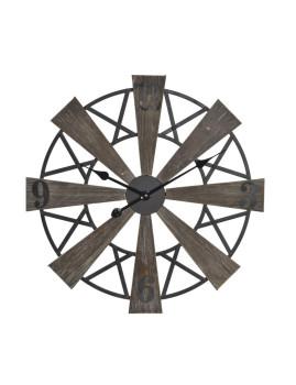 Relógio Parede Madeira Natural e Metal