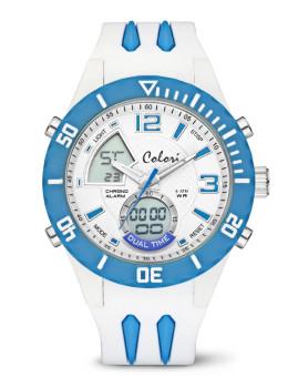 Relógio Colori Branco e Azul