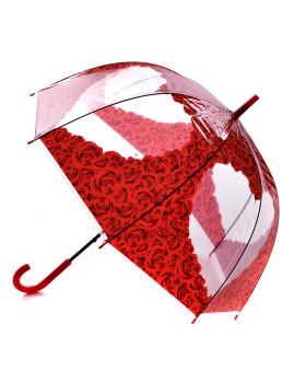 Chapéu de Chuva Coração em flores vermelhas