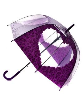 Chapéu de Chuva Coração em flores púrpura
