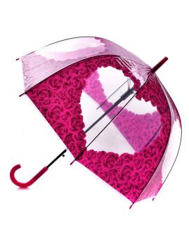 Chapéu de Chuva Coração em flores rosa