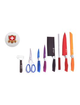Conjunto 5 facas + Tesoura e Pelador Cerâmico + Afiador