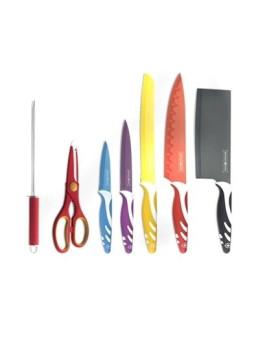Conjunto 5 facas + Tesoura + Afiador