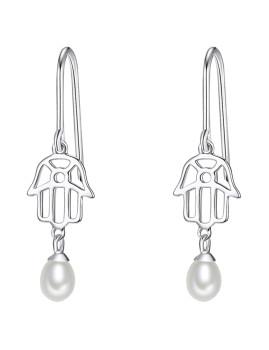 Brincos Nova Pearls Copenhagen Hand of Fatima Prateados e Brancos