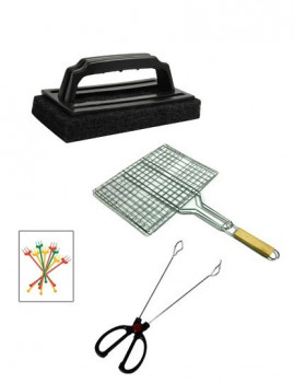 Grelha Quadriculada  Cabo Mad. (59X35 Cm ) + Pinça Churrasco Inox Cabo Plástico + Escova Limpa Grelhas