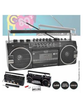 Rádio Portátil AM/FM Inovalley com 2 colunas 8W X-BASS
