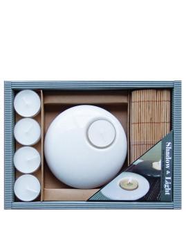 Conjunto Aroma Suporte De Velas Branco + 5 Velas + Esteira De Bamboo