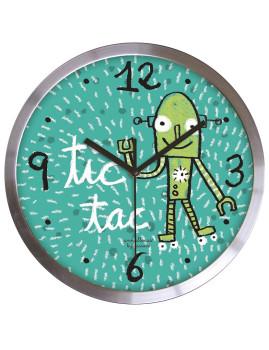 Relógio De Parede Tic-Tac Satin Aço Inoxidável