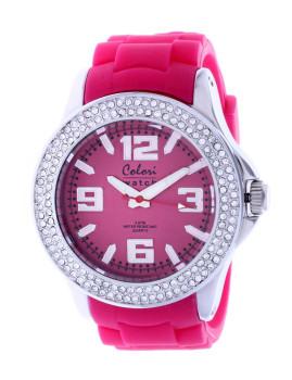 Relógio Colori Rosa com Brilhantes