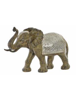 Figura Resina Espelho Elefante Prateado