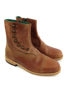 Bota o Porto Castanha com abotoamento & Forro Verde Green Boots