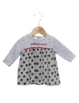 Vestido Bebé Girandola Cinza com estrelas pretas