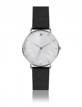 Relógio Emily Westwood Prateado MOP e Preto