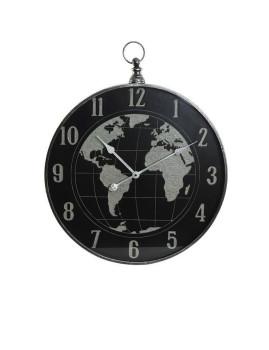Relógio Parede Metal e Cristal Mapa Mundo Preto