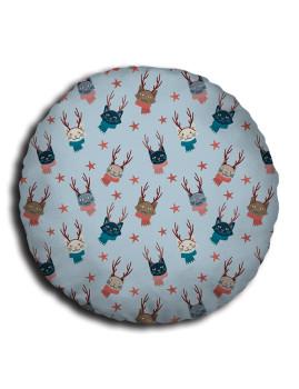 Almofada redonda Combo Cushions Xmas Gatos Renas