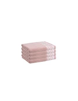 Conjunto de 4 Toalhetes Cimmo Rosa e Creme