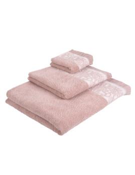 Conjunto de 3 Peças (1 Toalhete + 1 Toalha de Mão +1 Lençol de Banho) Cimmo Rosa e Creme
