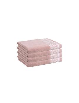 Conjunto de 4 Toalhas de Mão Cimmo Rosa e Creme