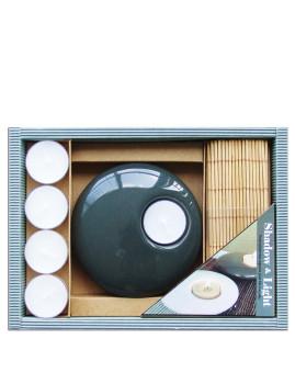 Conjunto Aroma Suporte De Velas Preto + 5 Velas + Esteira De Bamboo
