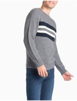 Camisola Malha Com Decote Cinza Medio Mesclado Homem MO