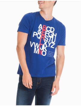T-Shirt Padrão Azul Homem MO