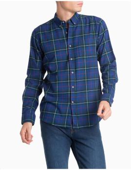Camisa Flanela M. Comprida Azul Medio Homem MO